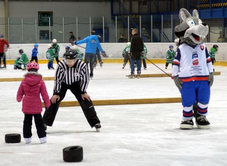 Prvá lekcia korčuľovania na ľade v Novom Meste nad Váhom za asistencie miláčika Gooolyho, foto Milan Novák